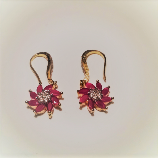 Picture of Floral Gold Hanging Earrings, Flower Hanging Earrings, Gold Crystal Floral Jewelry
