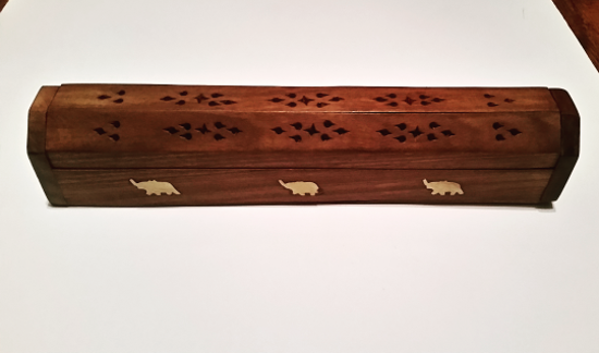 Picture of Incense Burner Box | Wooden Decorative | Elephant Inlay Sliding Lid