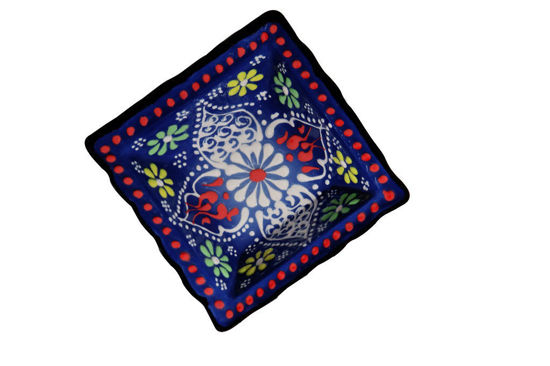 Picture of Fancy Hand Painted Floral Themed Ceramic Bowl-Blue