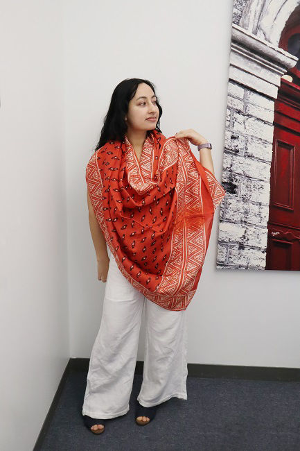 Picture of Designer Shawl | Raw Silk | Color Red and Black