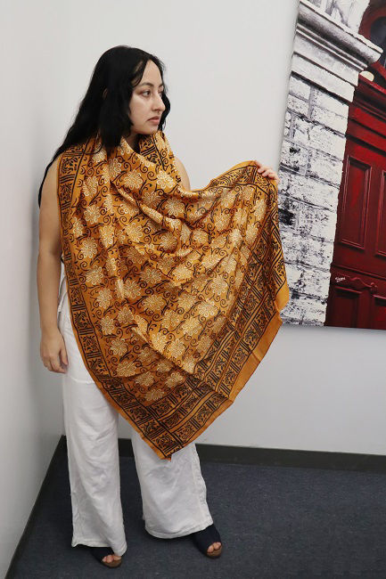 Picture of Raw Silk Floral Scarf