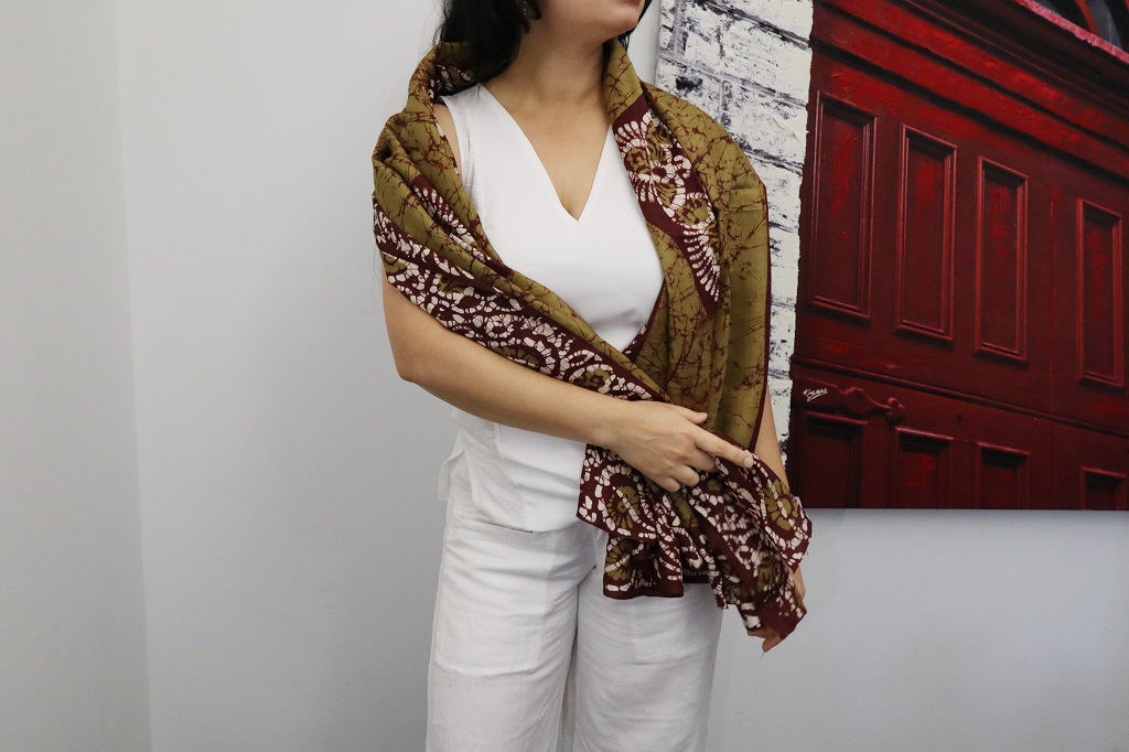 Picture of Long Silk Scarf Shawl, Scarves for Women, Green, Unique scarves
