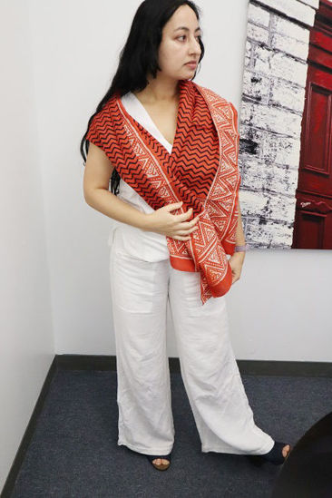 Picture of Long Silk Red & Black Scarf Shawl